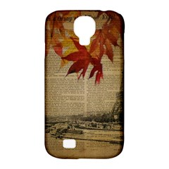 Elegant Fall Autumn Leaves Vintage Paris Eiffel Tower Landscape Samsung Galaxy S4 Classic Hardshell Case (pc+silicone)