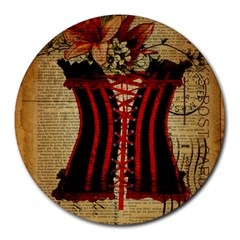Black Red Corset Vintage Lily Floral Shabby Chic French Art 8  Mouse Pad (round)