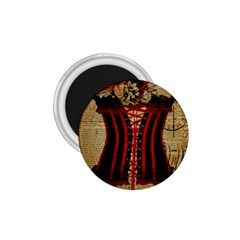 Black Red Corset Vintage Lily Floral Shabby Chic French Art 1.75  Button Magnet