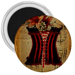 Black Red Corset Vintage Lily Floral Shabby Chic French Art 3  Button Magnet