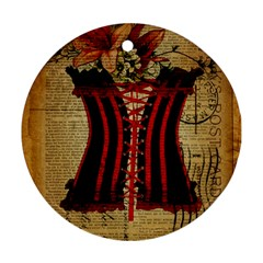 Black Red Corset Vintage Lily Floral Shabby Chic French Art Round Ornament