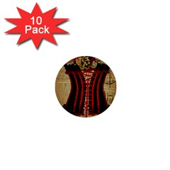 Black Red Corset Vintage Lily Floral Shabby Chic French Art 1  Mini Button (10 Pack)