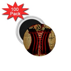 Black Red Corset Vintage Lily Floral Shabby Chic French Art 1.75  Button Magnet (100 pack)