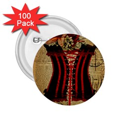 Black Red Corset Vintage Lily Floral Shabby Chic French Art 2.25  Button (100 pack)