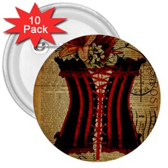 Black Red Corset Vintage Lily Floral Shabby Chic French Art 3  Button (10 pack)