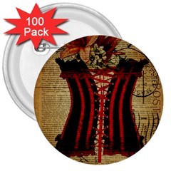 Black Red Corset Vintage Lily Floral Shabby Chic French Art 3  Button (100 pack)