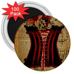 Black Red Corset Vintage Lily Floral Shabby Chic French Art 3  Button Magnet (100 pack)