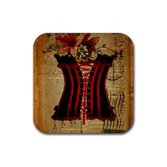 Black Red Corset Vintage Lily Floral Shabby Chic French Art Drink Coaster (Square)