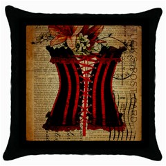 Black Red Corset Vintage Lily Floral Shabby Chic French Art Black Throw Pillow Case