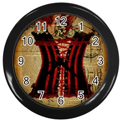 Black Red Corset Vintage Lily Floral Shabby Chic French Art Wall Clock (black)