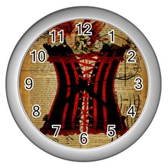 Black Red Corset Vintage Lily Floral Shabby Chic French Art Wall Clock (silver)