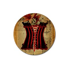 Black Red Corset Vintage Lily Floral Shabby Chic French Art Magnet 3  (Round)