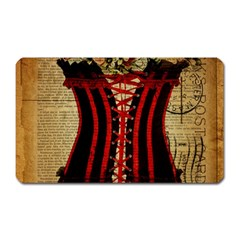 Black Red Corset Vintage Lily Floral Shabby Chic French Art Magnet (Rectangular)