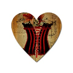 Black Red Corset Vintage Lily Floral Shabby Chic French Art Magnet (Heart)