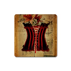 Black Red Corset Vintage Lily Floral Shabby Chic French Art Magnet (square)