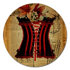 Black Red Corset Vintage Lily Floral Shabby Chic French Art Magnet 5  (round)