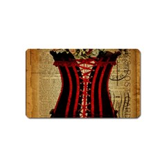 Black Red Corset Vintage Lily Floral Shabby Chic French Art Magnet (name Card)