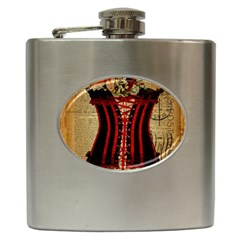 Black Red Corset Vintage Lily Floral Shabby Chic French Art Hip Flask