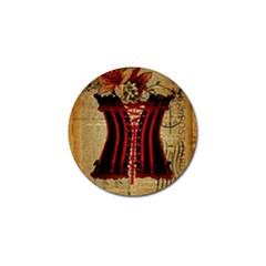 Black Red Corset Vintage Lily Floral Shabby Chic French Art Golf Ball Marker