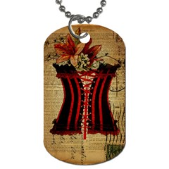 Black Red Corset Vintage Lily Floral Shabby Chic French Art Dog Tag (two Sided)
