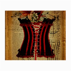 Black Red Corset Vintage Lily Floral Shabby Chic French Art Glasses Cloth (small)