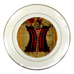 Black Red Corset Vintage Lily Floral Shabby Chic French Art Porcelain Display Plate