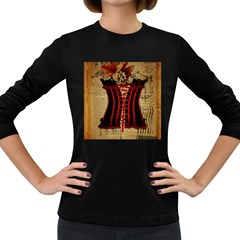 Black Red Corset Vintage Lily Floral Shabby Chic French Art Womens' Long Sleeve T-shirt (Dark Colored)
