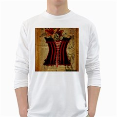 Black Red Corset Vintage Lily Floral Shabby Chic French Art Mens' Long Sleeve T Shirt (white)