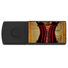 Black Red Corset Vintage Lily Floral Shabby Chic French Art 4GB USB Flash Drive (Rectangle)