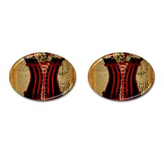 Black Red Corset Vintage Lily Floral Shabby Chic French Art Cufflinks (Oval)