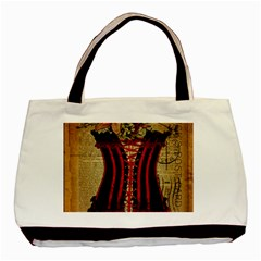 Black Red Corset Vintage Lily Floral Shabby Chic French Art Classic Tote Bag