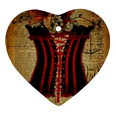 Black Red Corset Vintage Lily Floral Shabby Chic French Art Heart Ornament (Two Sides)