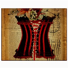 Black Red Corset Vintage Lily Floral Shabby Chic French Art Canvas 8  X 10  (unframed)