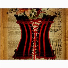 Black Red Corset Vintage Lily Floral Shabby Chic French Art Canvas 12  x 16  (Unframed)