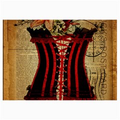 Black Red Corset Vintage Lily Floral Shabby Chic French Art Canvas 12  x 18  (Unframed)