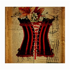 Black Red Corset Vintage Lily Floral Shabby Chic French Art Canvas 16  X 20  (unframed)