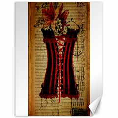 Black Red Corset Vintage Lily Floral Shabby Chic French Art Canvas 18  x 24  (Unframed)