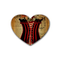 Black Red Corset Vintage Lily Floral Shabby Chic French Art Drink Coasters 4 Pack (Heart)