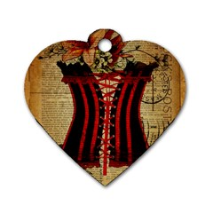 Black Red Corset Vintage Lily Floral Shabby Chic French Art Dog Tag Heart (One Sided)