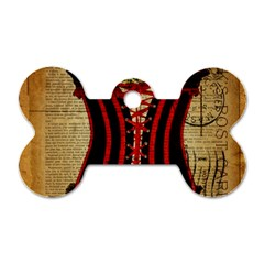 Black Red Corset Vintage Lily Floral Shabby Chic French Art Dog Tag Bone (Two Sided)