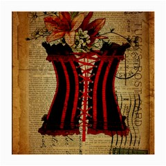 Black Red Corset Vintage Lily Floral Shabby Chic French Art Glasses Cloth (Medium)