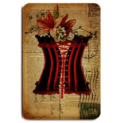 Black Red Corset Vintage Lily Floral Shabby Chic French Art Large Door Mat