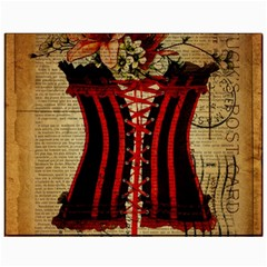 Black Red Corset Vintage Lily Floral Shabby Chic French Art Canvas 11  x 14  (Unframed)
