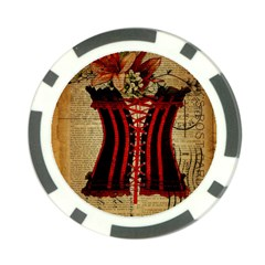 Black Red Corset Vintage Lily Floral Shabby Chic French Art Poker Chip