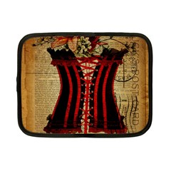Black Red Corset Vintage Lily Floral Shabby Chic French Art Netbook Case (Small)