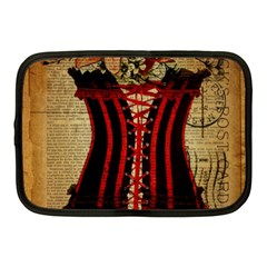 Black Red Corset Vintage Lily Floral Shabby Chic French Art Netbook Case (Medium)
