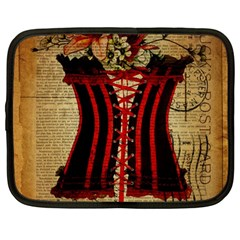 Black Red Corset Vintage Lily Floral Shabby Chic French Art Netbook Case (Large)