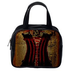Black Red Corset Vintage Lily Floral Shabby Chic French Art Classic Handbag (one Side)