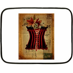 Black Red Corset Vintage Lily Floral Shabby Chic French Art Mini Fleece Blanket (two Sided)