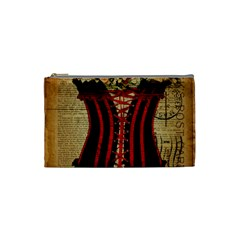 Black Red Corset Vintage Lily Floral Shabby Chic French Art Cosmetic Bag (Small)